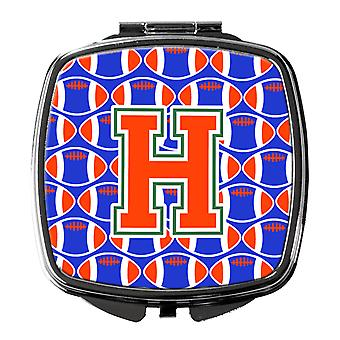 Letter H Football Green, Blue and Orange Compact Mirror