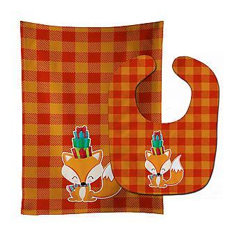 Carolines Treasures  BB9173STBU Christmas Fox Baby Bib & Burp Cloth