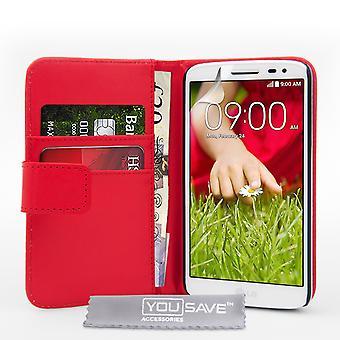 Yousave Zubehör LG G2 Mini Leder-Effekt-Geldbörse Case - rot