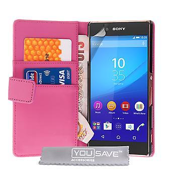 Sony Xperia Z3 Plus Leder-Effekt-Wallet Case - Hot Pink