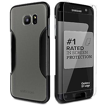 SaharaCase Galaxy S7 borde niebla gris protección caso clásico Kit con ZeroDamage vidrio templado