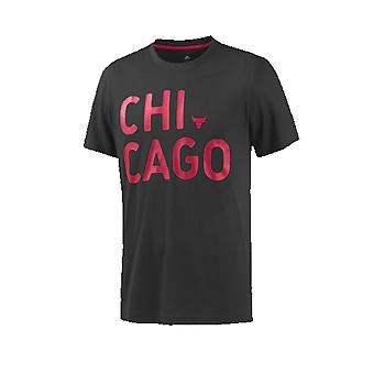 Adidas NBA Basketball Chicago Bulls T-shirt Male Black