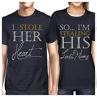 Stealing Last Name Matching Couple Gift Shirts Navy For Engagement