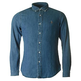 Polo Ralph Lauren Slim Fit donkere Chambray hemd