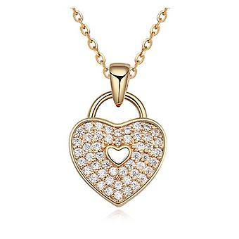 Womens Gold Locked Love Heart Necklace Pendant Crystal Stones