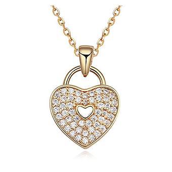 Womens or verrouillé amour coeur Collier pendentif pierres de cristal