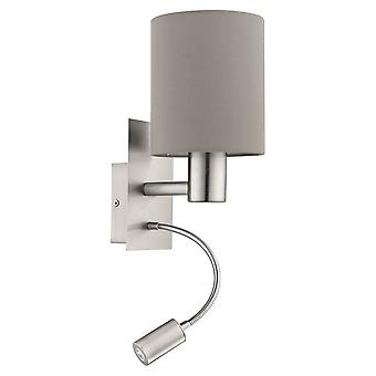Eglo Pasteri Nickel And Taupe Hotel Room LED Wall Reading Light