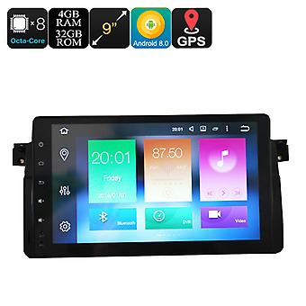 One Din Car Media Player For BMW 3 - 9 Inch Display, Android 8.0, GPS, WiFi, 3G Support, CAN BUS, Octa-Core CPU, 4GB RAM
