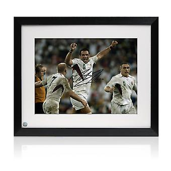 Framed Martin Johnson Signed England Rugby Photo: The Final Whistle