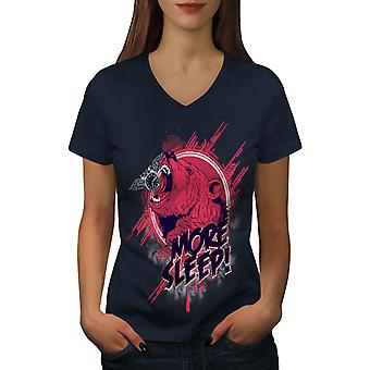 Bär schlafen mehr Frauen NavyV-Neck T-shirt   Wellcoda