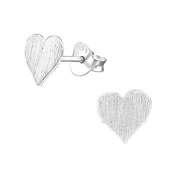 Heart - 925 Sterling Silver Plain Ear Studs - W27372x