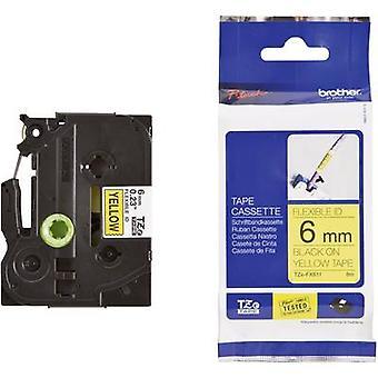 Kennzeichnung mit Klebeband (flexibel) Brother TZe-FX, TZ-FX TZe-FX611 Band Farbe: gelbe Schrift Farbe: schwarz 6 mm 8 m