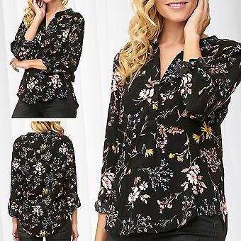 JDY Ladies Blouse Floral Flowers Top Henley Neck Long Sleeve 3/4 Sleeve Shirt