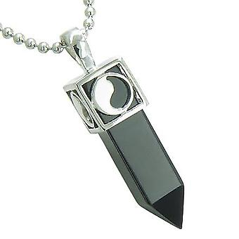 Positive Energy Magic Powers Yin Yang Amulet Crystal Point Lucky Charm Black Onyx Pendant Necklace