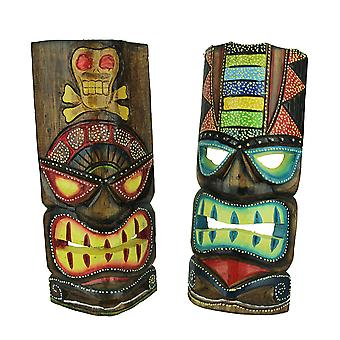 12 pollici alto mano artigianale in legno Tiki Totem parete maschera Set di 2