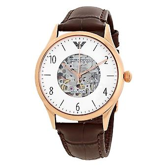 Armani Watches Ar1920 Meccanico Rose Gold & Brown Textured Leather Automatic Men's Watch