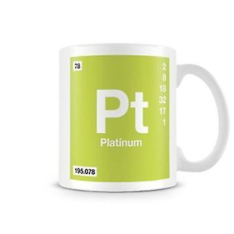 Wetenschappelijke bedrukte mok Featuring Element symbool 078 Pt - Platinum