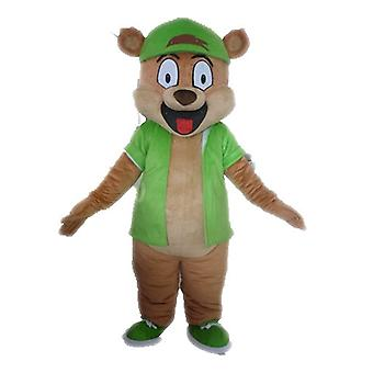 mascot SPOTSOUND of giant brown bear dressed in green