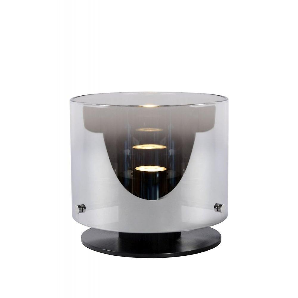 Lucide Owino Modern Round Aluminum Smoke gris And noir Table Lamp