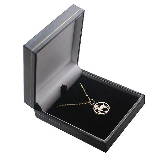 9ct Gold 11mm pierced Capricorn Zodiac Pendant with a cable Chain 16 inches Only Suitable for Children