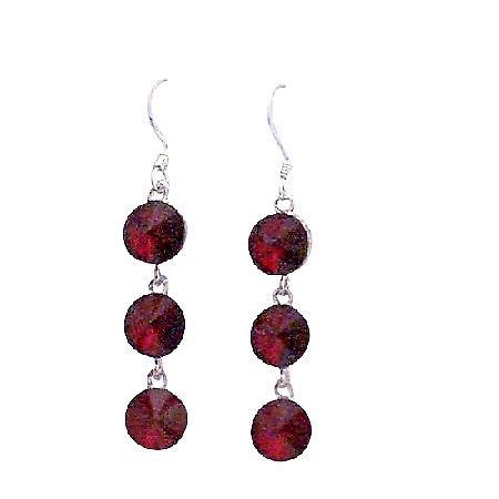 Dark Siam Red Swarovski Crystal Round Beads 10mm Silver Hook Earrings
