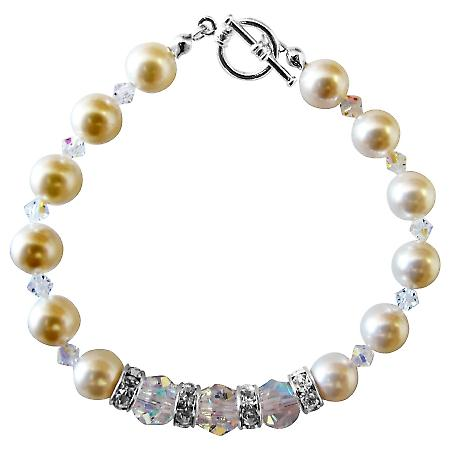 Swarovski Cream Pearls & Clear Crystal Bracelet with Silver Rondells