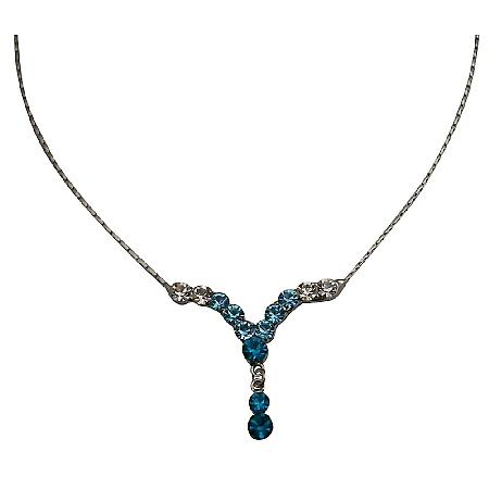 Aquamarine Clear Blue Zircon Crystal V Shaped Necklace Party Jewelry
