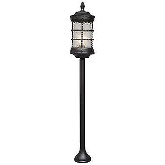 Glasberg - Black Single Round Outdoor Bollard With Textured Glass 810040501