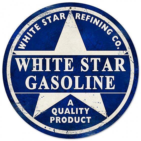 White Star Gasoline round metal sign  (pst 14rnd)
