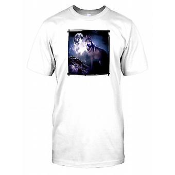 Wolf in Full Moon Mens T Shirt