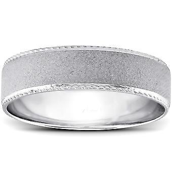 メンズ手編みフラット ブラシをかけられた結婚指輪 14 K ホワイトゴールド