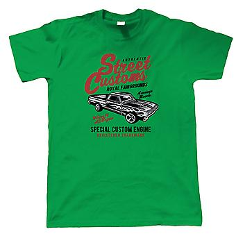 Street Custom Mens T-Shirt   Muscle Supercharged V8 Vintage Power Racing Mopar    Muscle American V8 Iconic Rear Wheel Performance    Motoring Gift Him Dad