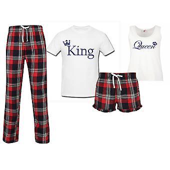 King Queen Wedding Couples Matching Pyjama Tartan Set