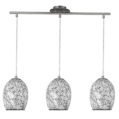 Searchlight 8069-3WH Crackle 3 Light Chrome Pendant With White Silver Mosaic Glass