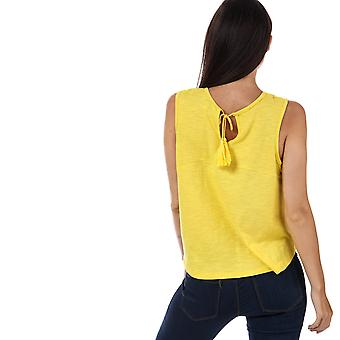 Womens Brave Soul Isabelle Embroidered Top In Canary Yellow / White