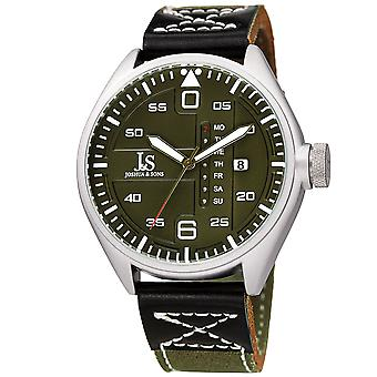 Joshua & Son's JX145GN Designer Men's Watch – Canvas Over Genuine Leather Strap with Contrast Stitching, Date and Special Day Display, Quartz Mo