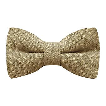 Golden Yellow Herringbone Bow Tie