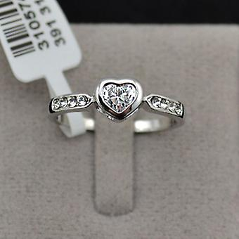 18K White Gold Plated Cubic Zirconia Heart Ring