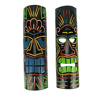 Brightly Colored Wood 20 inch Tall Tiki Totem Masks Set of 2