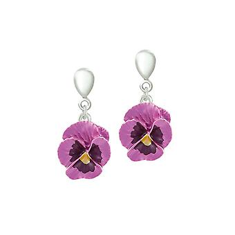 Eternal Collection Pansy Perfection Pink Enamel Silver Tone Flower Drop Clip On Earrings