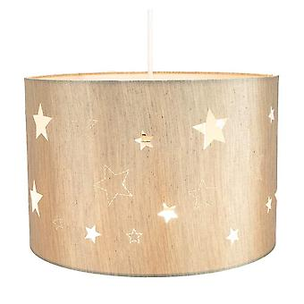 Contemporary Beige Linen Childrens/Kids Pendant/Lamp Shade with Laser Cut Stars