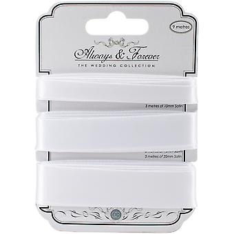 Craft Consortium Always & Forever Satin Ribbon 3yd 3/Pkg-White AFSRBN01