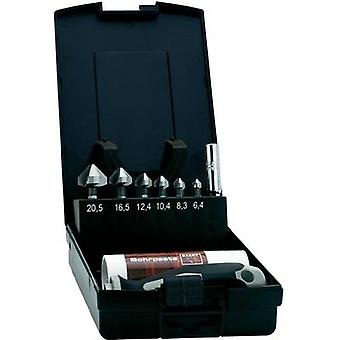 Countersink set 8-piece 6.3 mm, 8.3 mm, 10.4 mm, 12.4 mm, 16.5 mm, 20.5 mm HSS