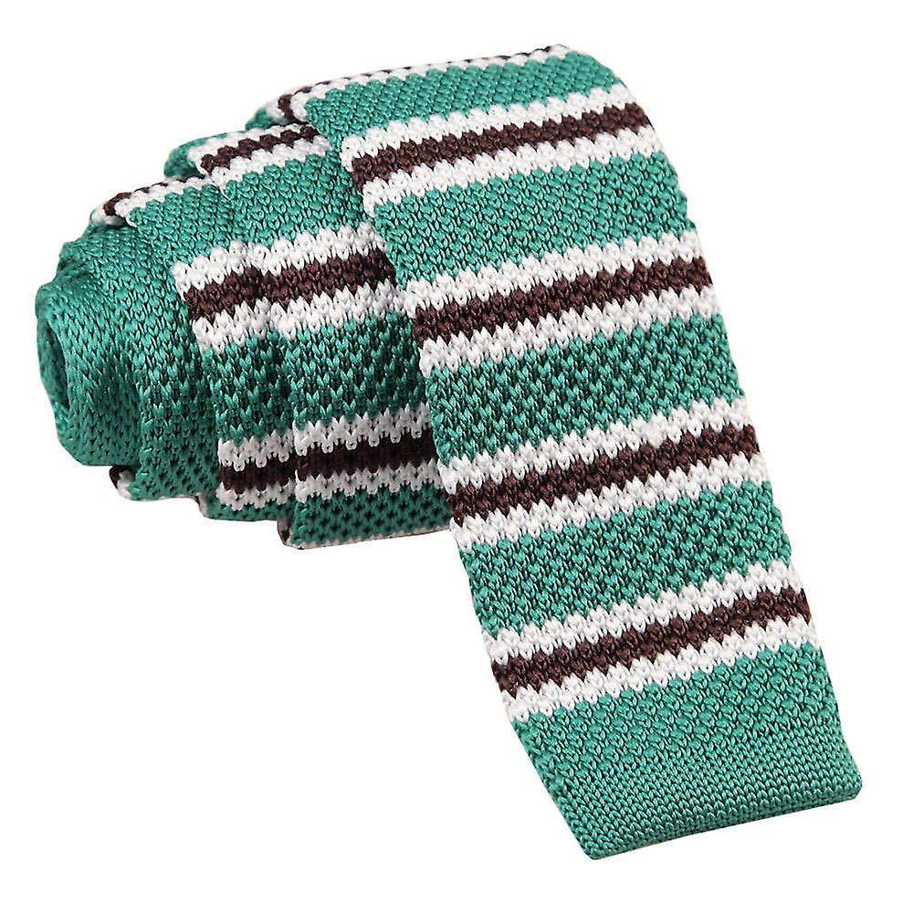 Teal with Brown & White Thin Stripe Knitted Skinny Tie