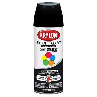 Colormaster Indoor/Outdoor Aerosol Paint 12oz-Semi-Gloss Black 1000A-51603