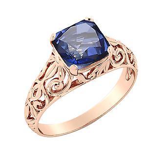 14K Rose Gold 2,00 Ctw blauen Saphir Ring Vintage Art Deco filigran