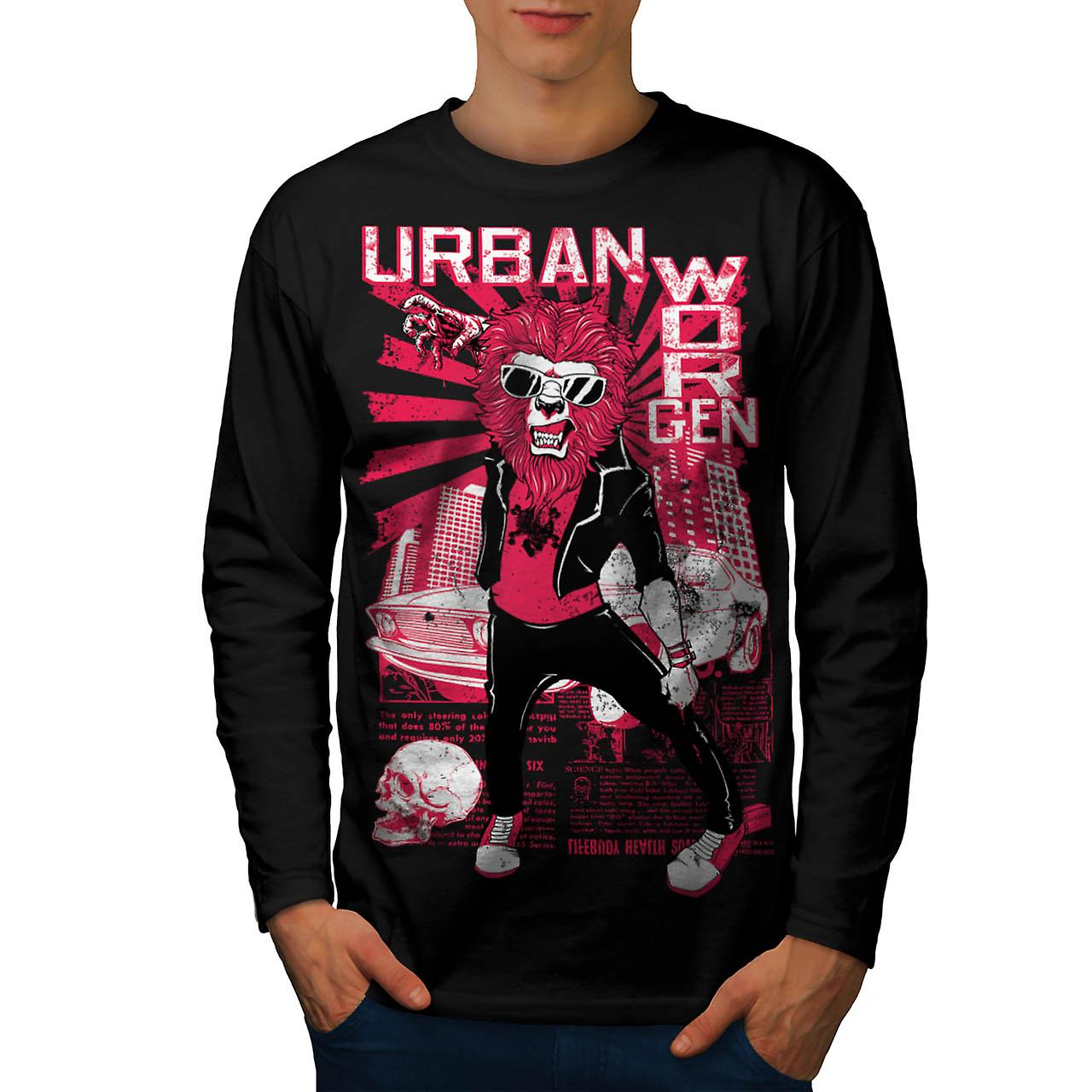 Urban Jungle lejon klo City Life män Svart långärmad T-shirt | Wellcoda