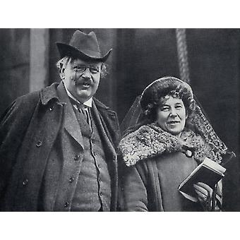 G K Chesterton 1874 - 1936 English Author With His Wife Frances Blogg From The Chestertons By Mrs Cecil Chesterton Published London 1941 PosterPrint