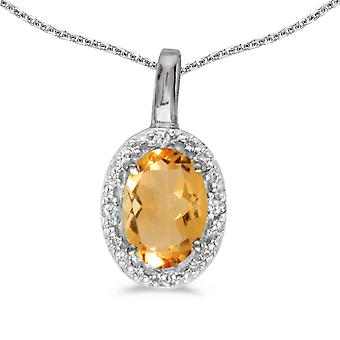 10k White Gold Oval Citrine And Diamond Pendant with 18