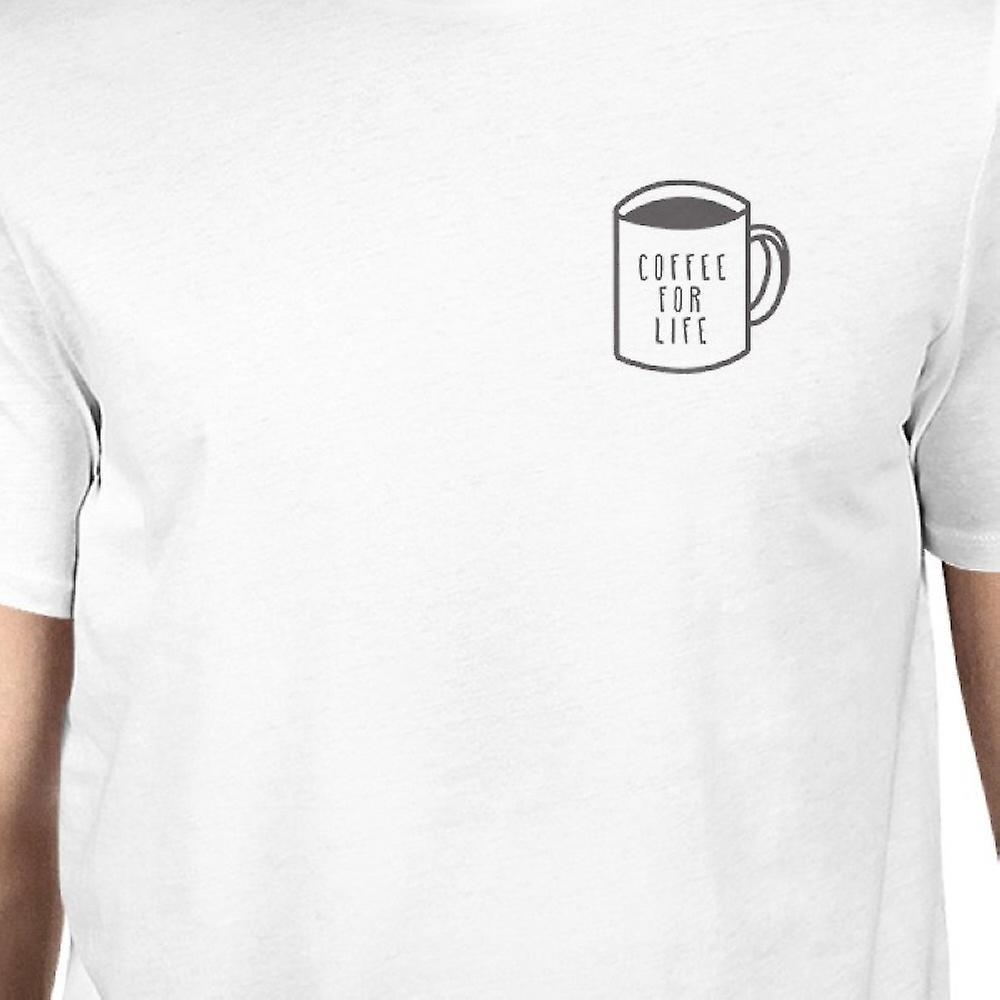 Koffie voor leven Pocket witte T-shirt Unisex schattig typografische Tee